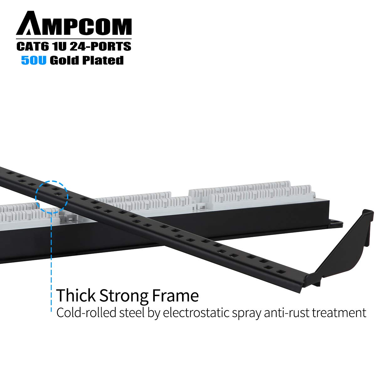Ampcom Supreme Series Cat6 Patch Panel50 Gold Plated Panel 110 Type 24 Port 568a B Compatible Plated1u Rackmount Or Wallmount Punch Down Panelcable Management Panellabel Boardrj45568a 568b Computers