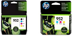 HP 952 | 4 Ink Cartridges | Black, Cyan, Magenta, Yellow | F6U15AN, L0S49AN, L0S52AN, L0S55AN & 952 | 3 Ink Cartridges | Cyan, Magenta, Yellow | L0S49AN, L0S52AN, L0S55AN