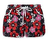 EachEver Women's Causal Floral Boardshort Elastic Waist Beach Shorts Red XL