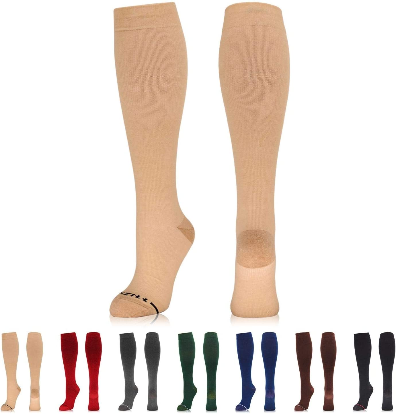 NEWZILL Copper-Infused Cotton Compression Sock (15-20 mmHg) for Men & Women
