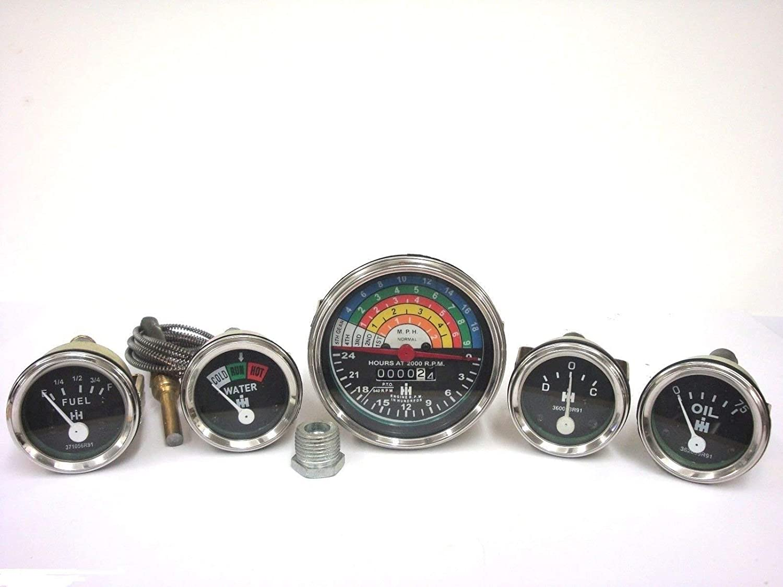 IH-Farmall-460-560-Gas-Diesel-Tachometer-Temp-Oil-Pressure-Ampere-Fuel-Gauge