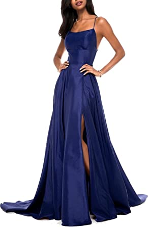 Ladsen 2018 Sexy Cross-Back Stain Slit Prom Dresses Navy Blue US20 Plus Size