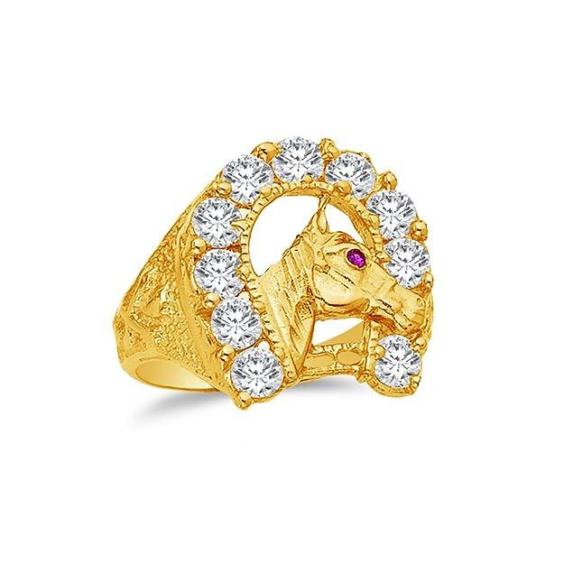Anillo de Oro Amarillo de 14 kt circonita cúbica Herradura de la Suertehttps://amzn.to/2X6paQ3