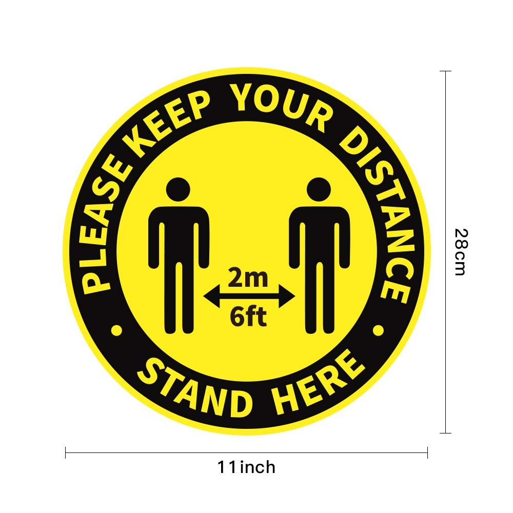Social Distancing Floor Decals,Social Distancing Floor Signs 10 Pack 11 Circle 6ft Safety Floor Sign Marker Social Distance Floor Sticker for Business Work