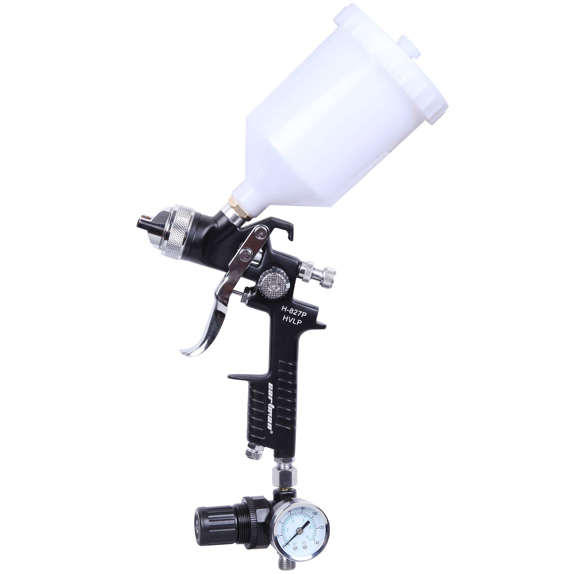 CARTMAN HVLP Gravity Feed Air Spray Gun H-827, H-827P, 20.2 oz Capacity, 2.5-3.5 CFM (Cubic feet per Minute), Optimal Working Pressure 3.0bar/43psi, Nozzle Size:1.4mm with Air Regulator
