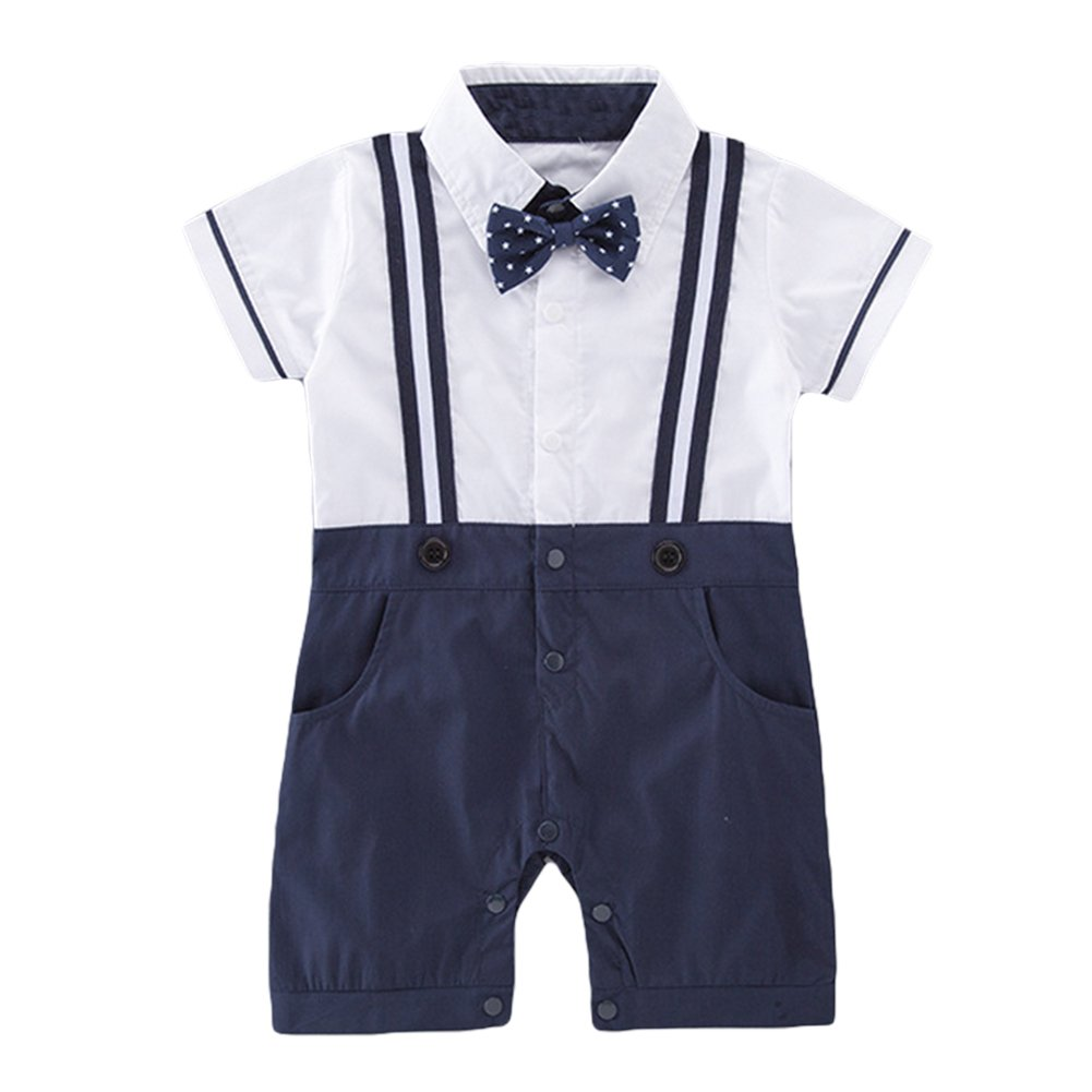 Taitaibaby Baby Boys One Piece Gentleman Outfits Suits, Infant Short Sleeve Shirt+ Bow Tie