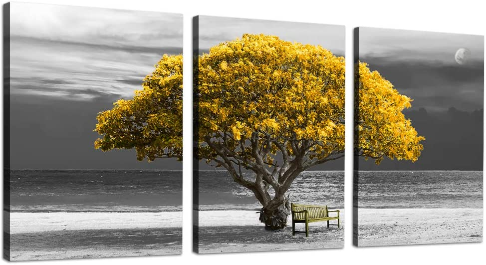 "3 Piece Canvas Wall Art - panoramic black and white wallart with yellow trees The scenery Landscape - Modern Home Decor The room Stretched and Framed Ready to Hang - 12""x16""x3 Panels"