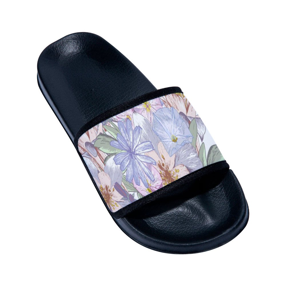 Fhdang Decor Women Mens Flower Slide Sandals Non-Slip Swim Bathroom Slippers Shoes Soft Sole by