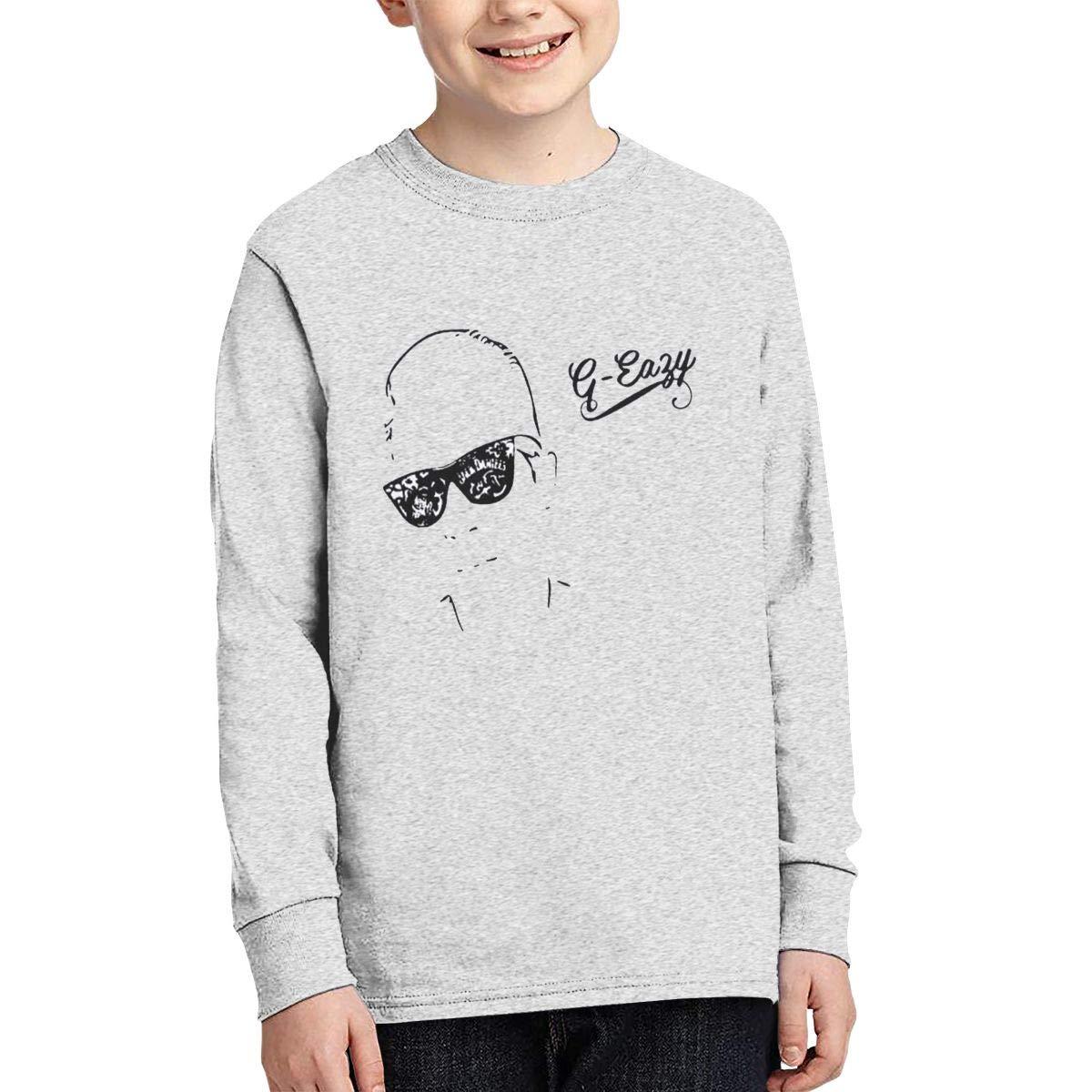 Round Neck T Shirt Fashion Retro Minimalist Atmosphere G Eazy Logo Gray 8064