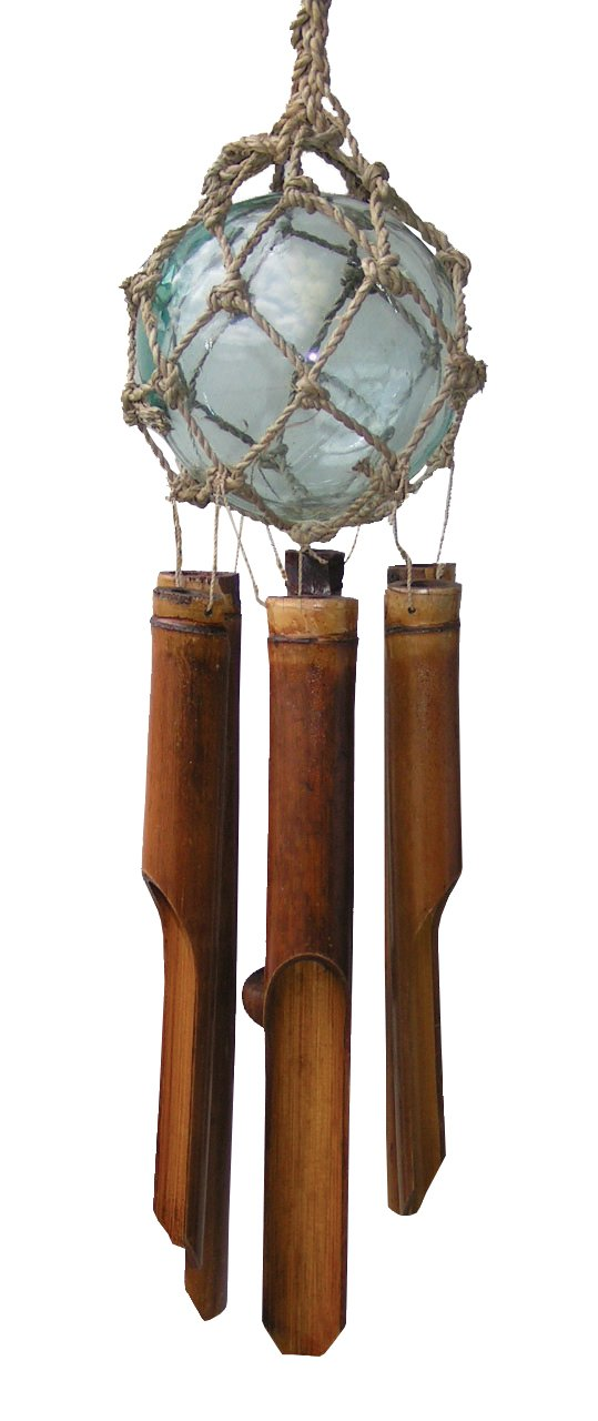 Cohasset 260 4'' Clear Glass Fish Float Bamboo Wind Chime