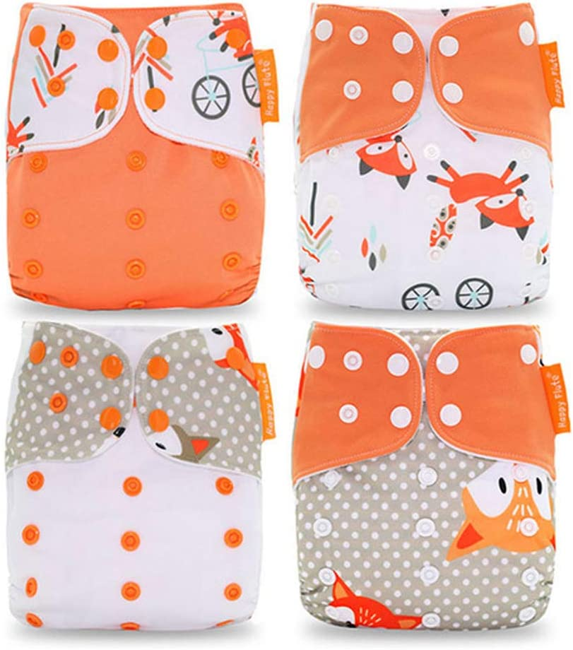 Orange Fox Pattern HahaGo 4PCS Baby Cloth Diaper Washable Reusable Diapers Insert All-in-One Pocket Nappy for Most Babies and Toddlers