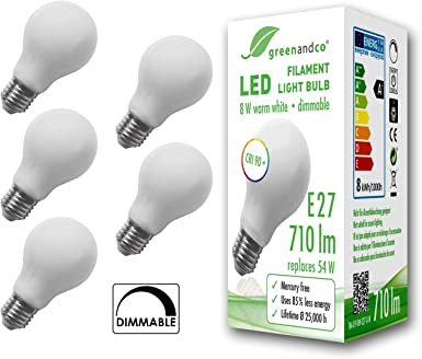 5x Bombilla de filamento LED greenandco® IRC 90+ regulable E27 ...