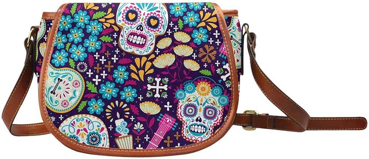 InterestPrint Calaveras Day of the Dead Crossbody Bag and Saddle Shoulder Bag Vintage Satchel for Women
