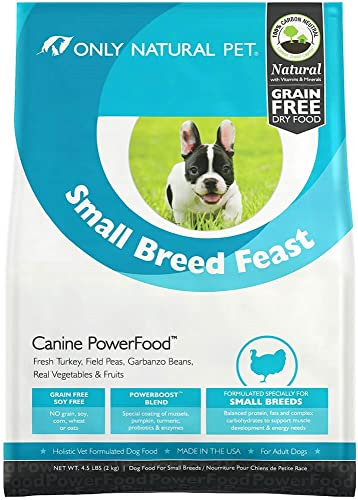 Only Natural Pet Natural Dry Dog Food Small Breed Feast - Adult Small Breed Toy Breed - Real Turkey, Vegetables Fruits, Canine PowerFood