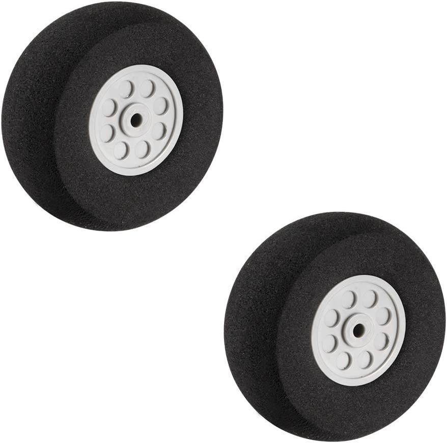 uxcell 51mm RC Model Plane Aircraft Foam Wheel Replacement Black Gray 2pcs