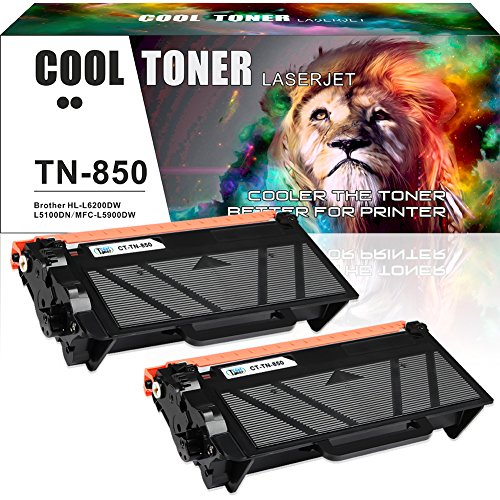 Cool Toner 2 Packs Compatible Brother TN850 TN-850 TN-820 Toner Replaces for Brother MFC-L5850DW HL-L6200DW MFC-L5900DW DCP L5600DN HL L5100DN HL-L5200DW HLL6200DWT MFC L5700DW MFC-L6800DW MFCL5800DW Compatible Black Drum Cartridge