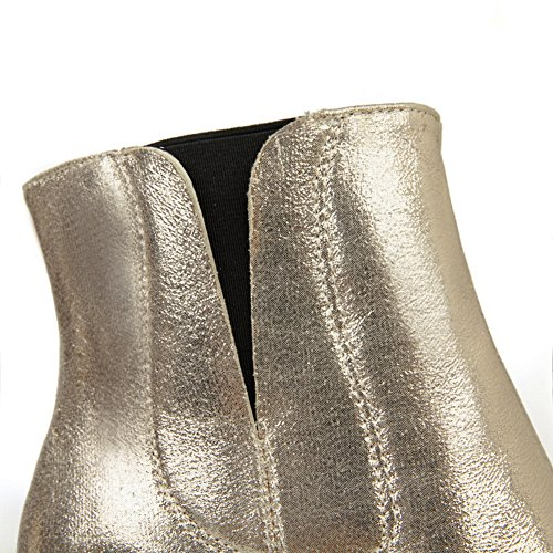 Heel Boots Platform Gold 1TO9 Urethane High Rain Novelty Flatform Womens T4xERq