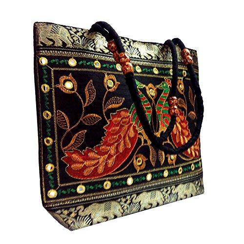 Peacock Embroidered Shoulder Bag, Attractive-Designer Bag-Good Capacity, Work & Party Bag-Lucky (Embroidered Shoulder Messenger Bag)