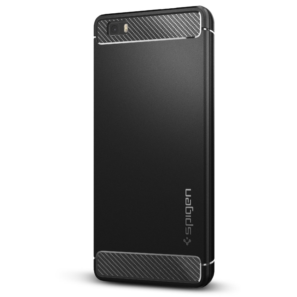 Spigen Rugged Armor Huawei P8 Lite Case with Resilient Shock Absorption and Carbon Fiber Design for Huawei P8 Lite (2015) - Black
