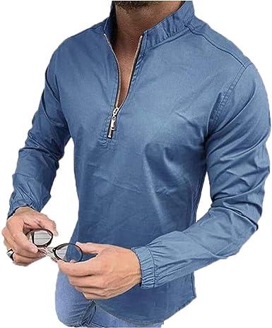 Camisa Casual de Manga Larga con Cremallera para Hombre Camisa del Cuello del Abuelo del Cuello del Soporte del Ocio: Amazon.es: Ropa y accesorios
