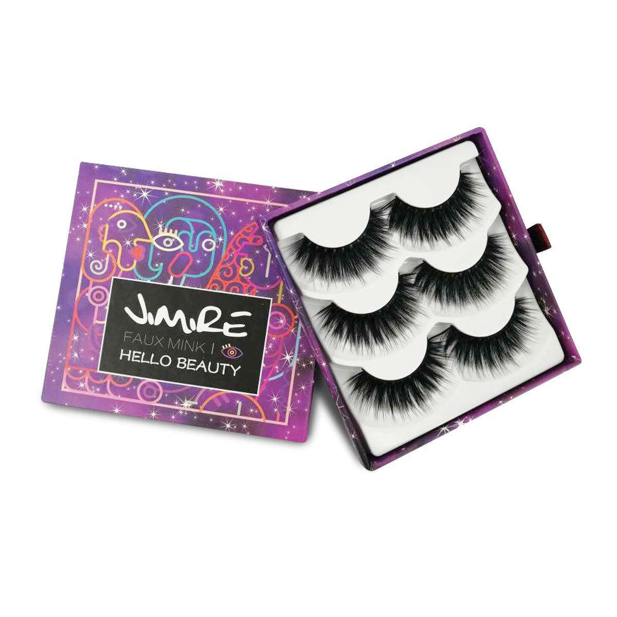 cc50a8115eb Amazon.com : JIMIRE Fake Eyelashes 3D Natural Lashes Pack Reusable False Eyelashes  3 Pairs : Beauty
