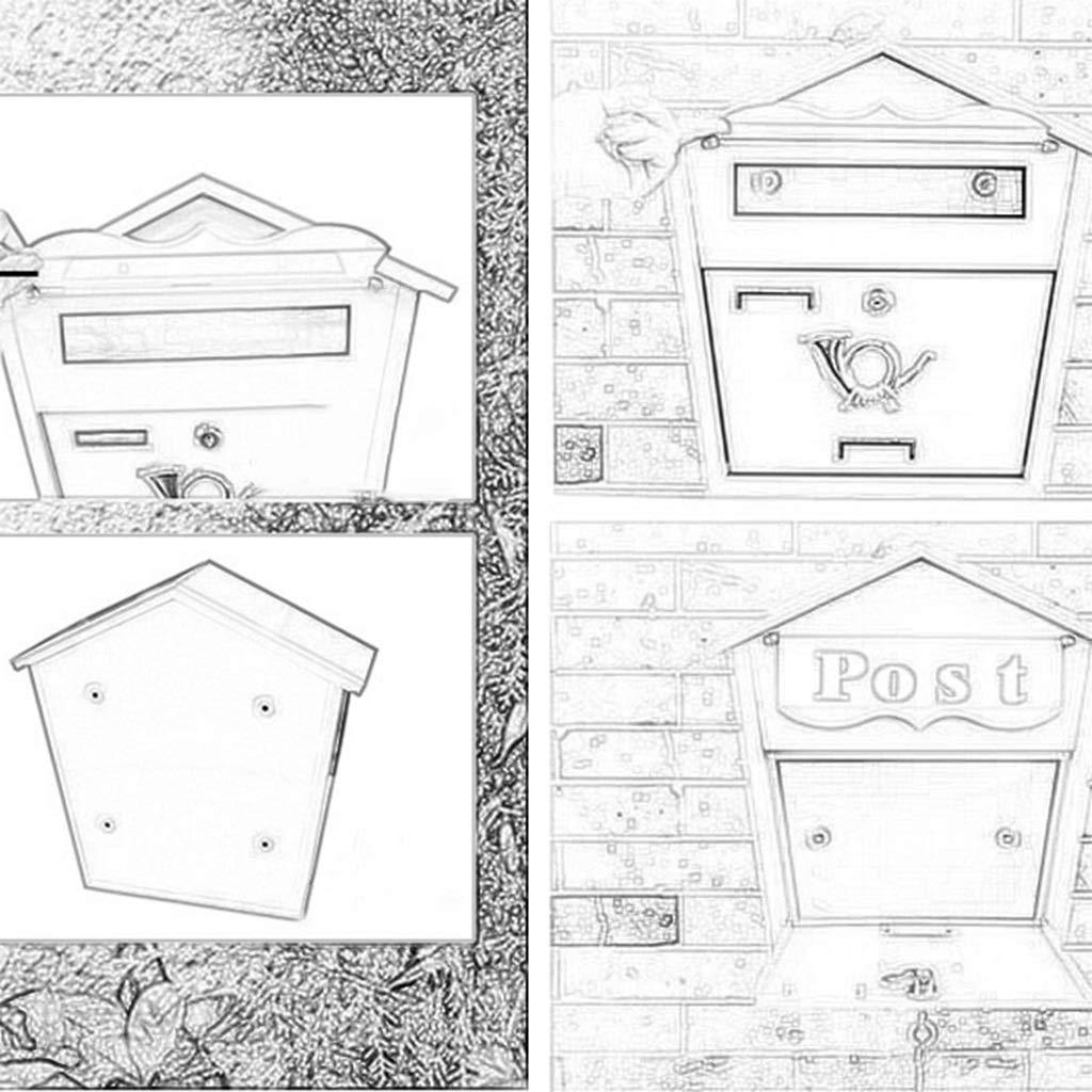 ALXLX Estilo R/ústico Antiguo De Metal Fija El Correo Caja De Bloqueo De Seguridad Residencial Buz/ón De Correo La Decoraci/ón del Hogar Bloqueo Montado En La Pared De Buzones Size : 36.6X36X12CM