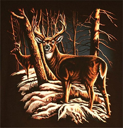 Big Buck Deer Standing Forest Snow Black Tee Shirt Size Xxl Adult T265 Tshirt (Ladies Police Tie Front Shirt)