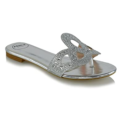 97ca00228488 ESSEX GLAM Womens Slip On Toe Post Diamante Silver Metallic Slip On Sandals  5 B(