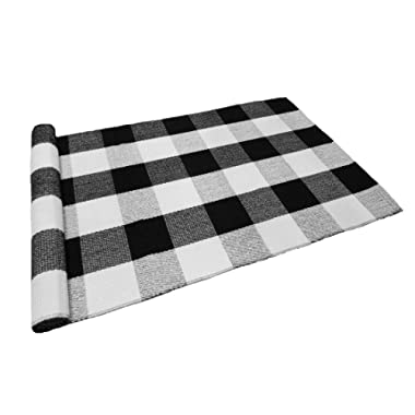 Levinis Black and White Plaid Rug 100% Cotton Porch Rugs Black/White Hand-woven Checkered Door Mat, 23.6''x35.4''