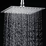 "12"" Luxury Rainfall Square Shower Head Ultra-thin Stainless Steel Durable Showerhead Waterfall Effect Water Saving Chrome Finish (12"")"