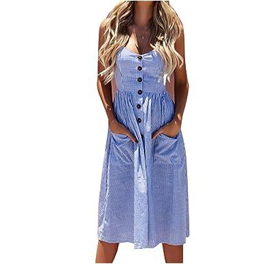 ae1ea992999b Youthny Robe Rayée Longue à Bretelles Applique aux Printemps Été pour  Femmes  Amazon.fr  Vêtements et accessoires