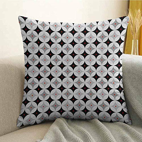 (FreeKite Mid Century Silky Pillowcase Retro Styled Atomic Composition with Vintage Diamond Line Pattern Super Soft and Luxurious Pillowcase W24 x L24 Inch Pale Grey Black Red)