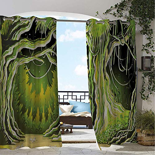 Outdoor Waterproof Curtain Neverland Magic Forest Fairy Tree in The Woodland Halloween Nature Landscape Olive and Lime Green pergola Grommet Patterned Curtain 96 by 84 inch ()