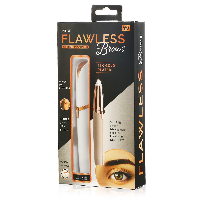 Elektro Augenbrauen Trimmer Augenbrauenrasierer Frauen Augen Make-up Elektrisch Rasierer Gesichthaarschneider Tragbar Augenbrauenformer mit Bürste, Weiß Weiß Vtrem