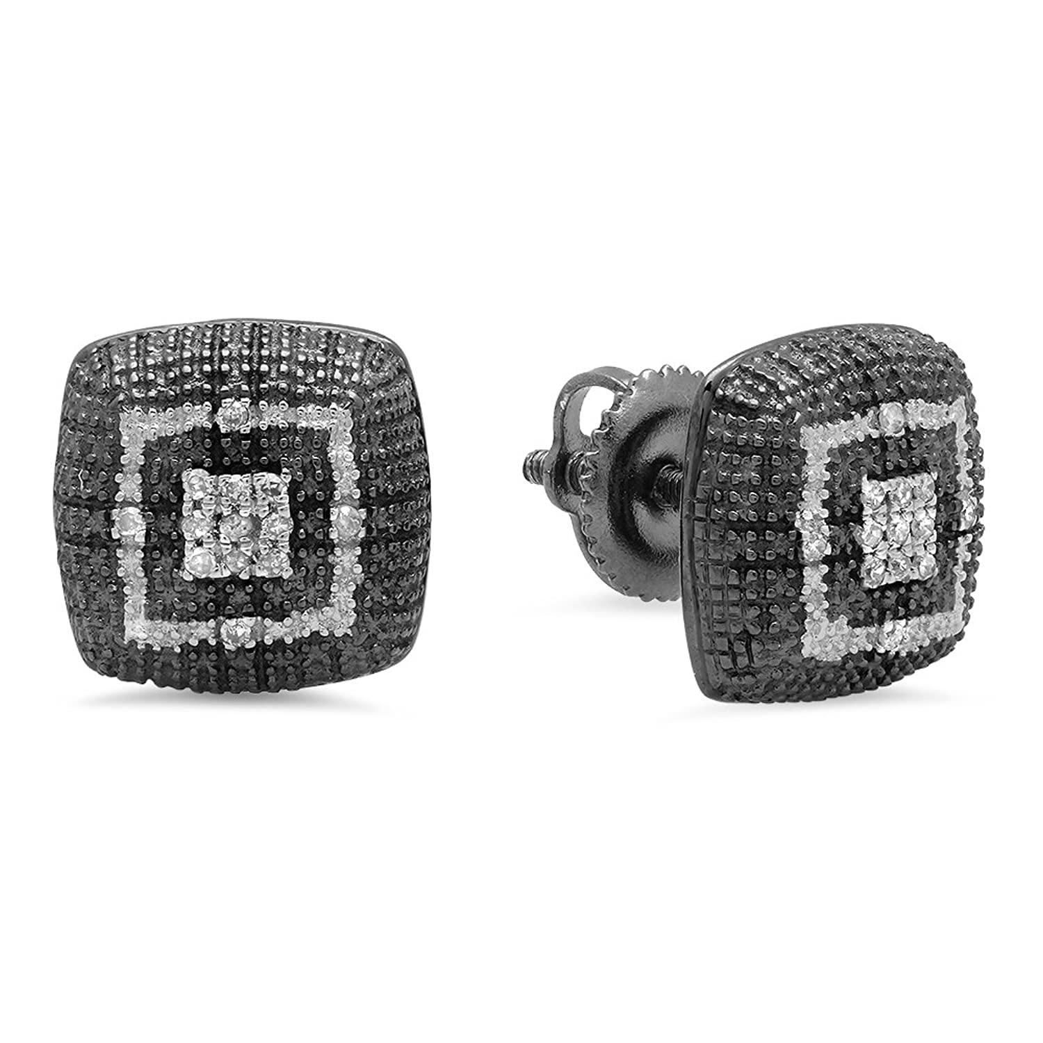 0.10 Carat (ctw) Black & White Plated Sterling Silver Round Diamond Ladies Fashion Stud Earrings 1/10 CT