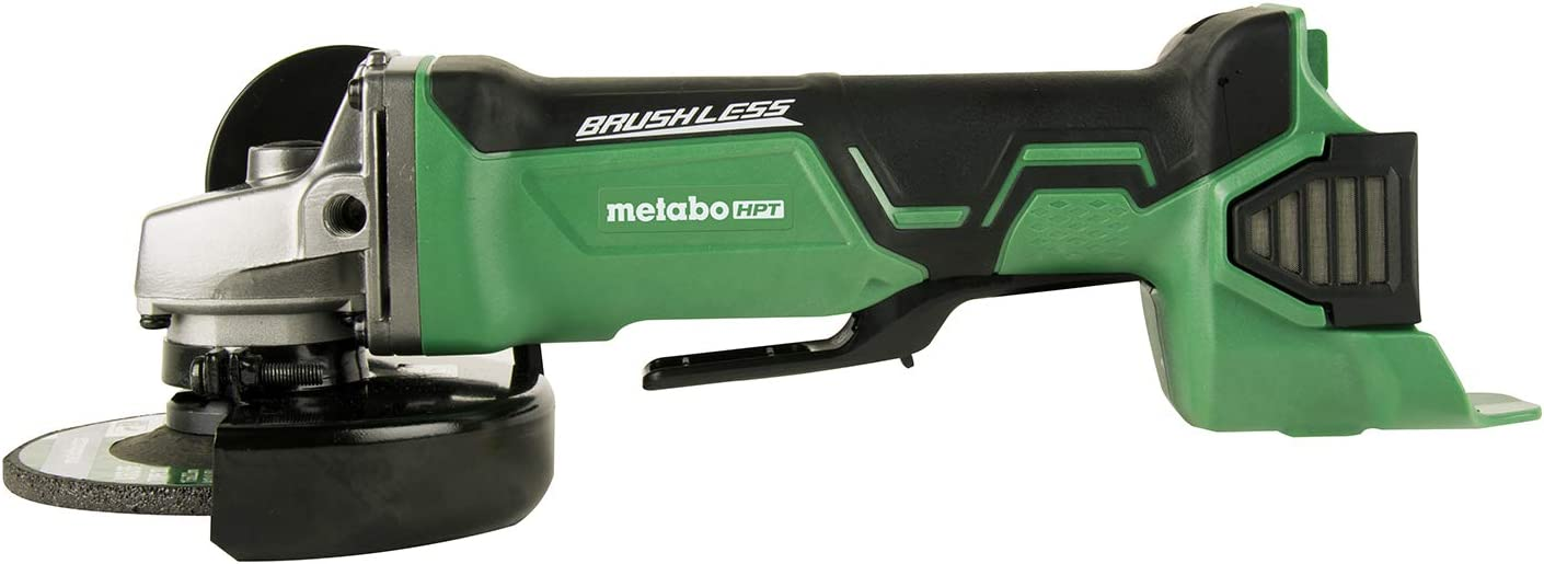 Metabo HPT G18DBALQ4 18V Cordless Brushless 4-1 2-Inch Angle Grinder, Tool Only – No Battery, Compatible w Hitachi Metabo HPT 18V Lithium Ion Slide-Type Batteries, Kick-back Protection