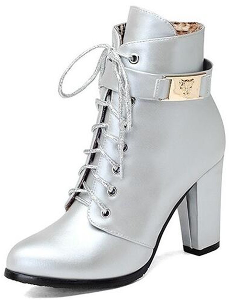 Summerwhisper Women's Trendy Buckle Strap Almond Toe Lace-up Booties Side Zipper Chunky High Heel Short Boots Shoes Silver 9.5 B(M) US