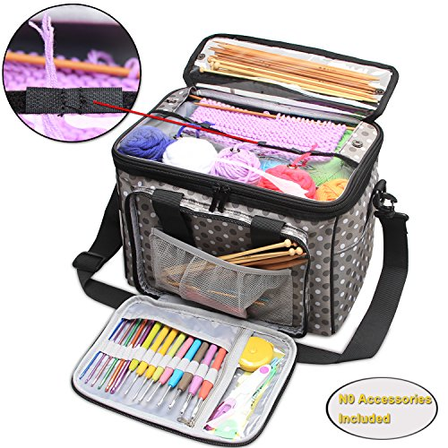 Teamoy Knitting Bag, Yarn Storage Tote with Inner Divider for Yarn and Unfinished Project, High Capacity, Easy to Carry Crochet Hooks, Knitting Needles and Accessories--No Accessories Included