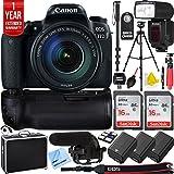 Canon EOS 77D 24.2 MP CMOS (APS-C) DSLR Camera w/EF-S 18-135mm Lens Triple Battery & Battery Grip Complete Video Recording Bundle - 2018 Beach Camera 24 Piece Value Bundle