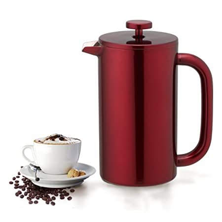 Highwin French Press – Double Wall Insulated Stainless Steel Coffee Press Maker Plunger Red