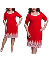 WoooInn Lace Patchwork Women New Summer Style Plus Size Office Casual Loose Dresses