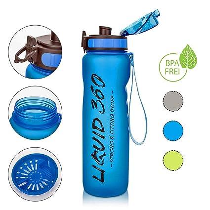 Liquid 360 Botella de Agua, 1 litro, antigoteo, sin BPA ...