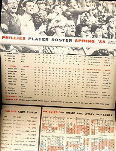 Philadelphia Phillies Spring Training - 1958 Philadelphia Phillies spring training roster amp;amp; schedule