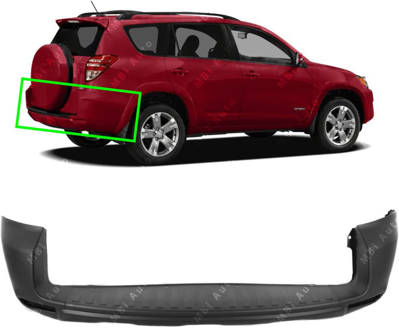 Primered TO1100270 Rear Bumper Cover for 2009 2010 2011 2012 Toyota Rav4 w//Gate-Mounted Spare 09-12 MBI AUTO