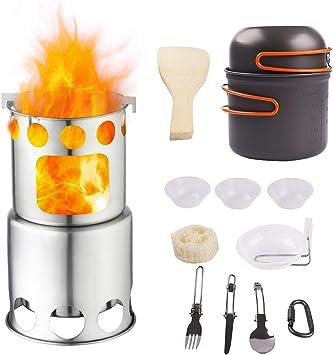 Qunlei - Juego de Utensilios de Cocina para Acampada con Estufa de Madera Antiadherente de Aluminio anodizado, Kit Completo y Ligero Plegable para ...