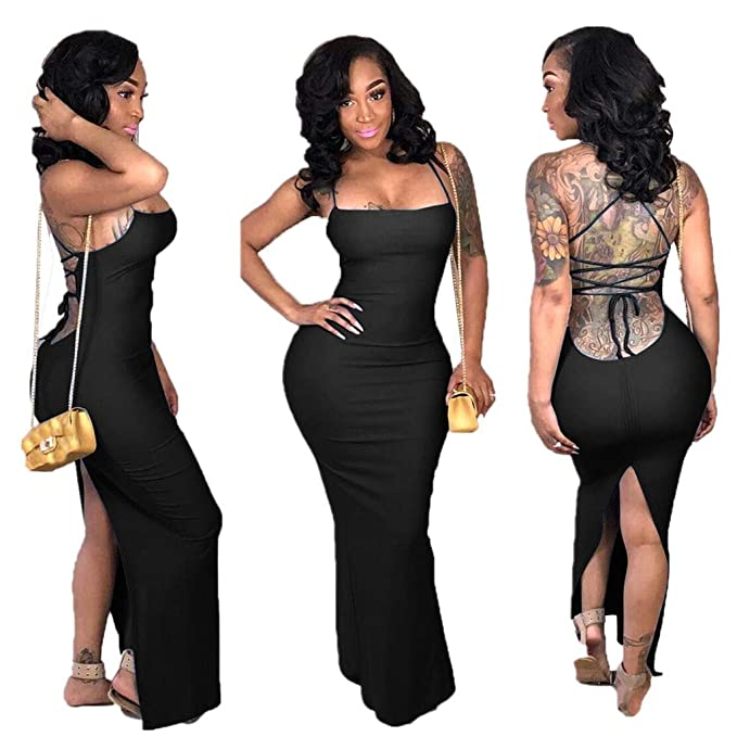 c22dfe7c627b Women Bodycon Maxi Dress Sexy Spaghetti Strap Lace up Back Hollow Backless Nightclub  Dresses at Amazon Women's Clothing store: