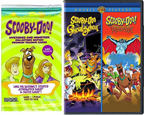 Scooby Doo Double Pack - Scooby-Doo Double Movie The Ghoul School & Scooby-Doo and the Legend of the Vampire Feature + Bonus Mysteries & Monsters Collection Card Pack Series 2 Spooky Bundle