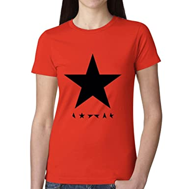 66d7542c327 David Bowie Blackstar Woman s T Shirt Red at Amazon Women s Clothing store