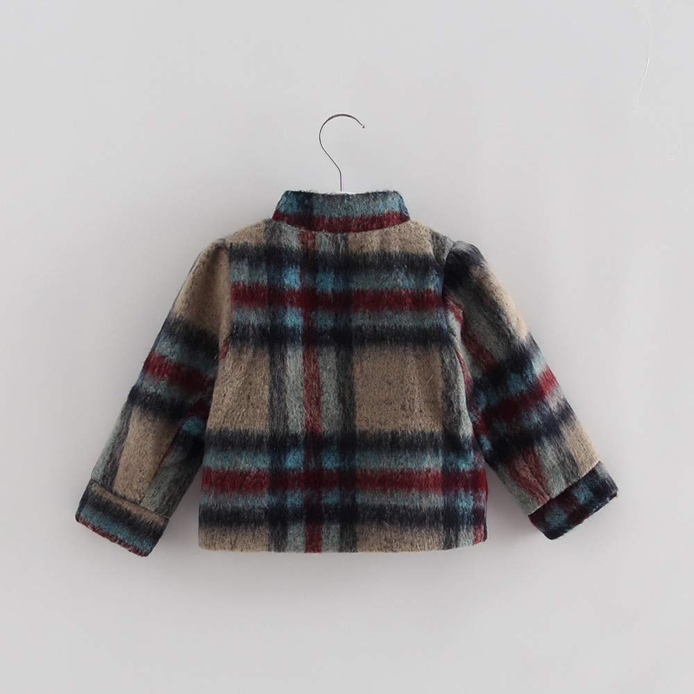 Oldeagle Baby Coat Toddler Baby Kids Girls Long Sleeve Stripe Plaid Thick Warm Coat