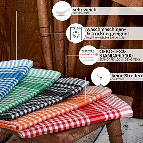Asciugamani in Cotone Strofinacci Panni da Cucina-Grigio Set di 4 Asciugamano da t/è 34x34 cm Super Assorbenti Tovaglioli da Cucina Strofinacci da Cucina a Quadretti /& Righe